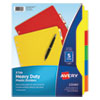 <strong>Avery®</strong><br />Heavy-Duty Plastic Dividers with Multicolor Tabs and White Labels , 5-Tab, 11 x 8.5, Assorted, 1 Set