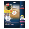"<strong>Avery®</strong><br />Permanent Laser Print-to-the-Edge ID Labels w/SureFeed, 2 1/2""dia, White, 300/PK"