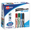<strong>Avery®</strong><br />MARKS A LOT Desk/Pen Style Dry Erase Marker Combo Pack, 12 Broad Bullet Tip, 12 Broad Chisel Tip, Assorted Colors, 24/Pack
