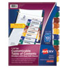 Ready Index Customizable Table Of Contents, Asst Dividers, 10-Tab, Ltr, 6 Sets