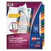 CUSTOMIZABLE TABLE OF CONTENTS READY INDEX DIVIDERS WITH MULTICOLOR TABS, 15-TAB, 1 TO 15, 11 X 8.5, TRANSLUCENT, 1 SET