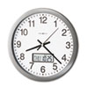 "Chronicle Wall Clock with LCD Inset, 14"", Gray"