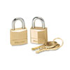 "<strong>Master Lock®</strong><br />Three-Pin Brass Tumbler Locks, 3/4"" Wide, 2 Locks and 2 Keys, 2/Pack"
