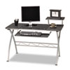 Mayline® Eastwinds Vision Computer Desk, 47-1/4w x 27d x 34h, Anthracite with Black Glass MLN972ANT