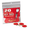 "<strong>MMF Industries&#8482;</strong><br />Snap-Hook Self-Locking Octagonal Plastid Key Tags, 1 1/4"" Diameter, Red, 20/Pack"