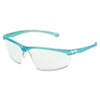 3M Refine 201 Safety Glasses, Wraparound, Clear AntiFog Lens, Teal Frame MMM117350000020