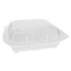 <strong>Pactiv</strong><br />Foam Hinged Lid Containers, Dual Tab Lock, 3-Compartment, 8.42 x 8.15 x 3, White, 150/Carton