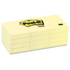 Post-it® Notes Original Pads in Canary Yellow, 1 1/2 x 2, 100-Sheet, 12/Pack MMM653YW