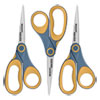 "Non-Stick Titanium Bonded Scissors, 8"" Long, 3.25"" Cut Length, Gray/Yellow Straight Handles, 3/Pack"