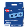 "<strong>Avery®</strong><br />Dispenser Pack Hole Reinforcements, 1/4"" Dia, Clear, 200/Pack, (5721)"