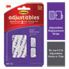 ADJUSTABLES REPOSITIONABLE MINI REFILL STRIPS, HOLDS UP TO 0.5 LB, 1.03 X 1.32, WHITE, 18 STRIPS