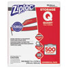 "<strong>Ziploc®</strong><br />Double Zipper Storage Bags, 1 qt, 1.75 mil, 7"" x 7.75"", Clear, 500/Box"