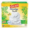 "<strong>Glad®</strong><br />OdorShield Tall Kitchen Drawstring Bags, 13 gal, 0.95 mil, 24"" x 27.38"", White, 80/Box"