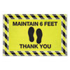 "NON-RETURNABLE. MESSAGE FLOOR MATS, 24 X 36, BLACK/YELLOW, ""MAINTAIN 6 FEET THANK YOU"""