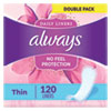 <strong>Always®</strong><br />Thin Daily Panty Liners, Regular, 120/Pack, 6 Packs/Carton