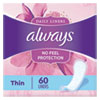 THIN DAILY PANTY LINERS, REGULAR, 60/PACK