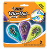 """<strong>BIC®</strong><br />Wite-Out Brand Mini Correction Tape, Non-Refillable, 0.2"""" x 314.4"""", White Tape, 3/Pack"""