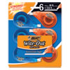 """<strong>BIC®</strong><br />Wite-Out EZ Correct Correction Tape, Non-Refillable, 0.17"""" x 468"""", White Tape, 6/Pack"""
