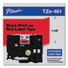 """TZe Standard Adhesive Laminated Labeling Tape, 1.4"""" x 26.2 ft, Black on Red"""