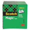 """MAGIC TAPE REFILL, 3"""" CORE, 0.75"""" X 72 YDS, CLEAR, 2/PACK"""