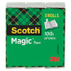 """MAGIC TAPE REFILL, 1"""" CORE, 0.75"""" X 83.33 FT, CLEAR, 3/PACK"""