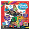 <strong>Cra-Z-Art®</strong><br />Washable Sidewalk Chalk Design Set with Stamps, Stencils, and 4 ft x 2 ft Chalkboard Mat, 16 Assorted Colors