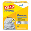 "<strong>Glad®</strong><br />ForceFlex Tall Kitchen Drawstring Trash Bags, 13 gal, 0.72 mil, 23.75"" x 24.88"", Gray, 100/Box"