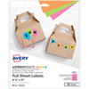 <strong>Avery®</strong><br />Printable Color Labels, 8.5 x 11, Assorted Colors, 10/Pack