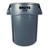 Rubbermaid® Commercial Brute Vented Trash Receptacle, Round, 44 gal, Gray RCP264360GY