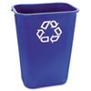 Rubbermaid® Commercial Large Deskside Recycle Container w/Symbol, Rectangular, Plastic, 41.25qt, Blu RCP295773BE