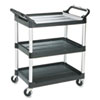 Economy Plastic Cart, Three-Shelf, 18.63w x 33.63d x 37.75h, Black