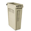Rubbermaid® Commercial Slim Jim Receptacle w/Venting Channels, Rectangular, Plastic, 23gal, Beige RCP354060BG