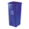 Recycled Untouchable Square Recycling Container, Plastic, 23gal, Blue