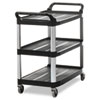 <strong>Rubbermaid® Commercial</strong><br />Open Sided Utility Cart, Three-Shelf, 40.63w x 20d x 37.81h, Black
