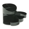 Rubbermaid® Small Storage Divided Pencil Cup, Plastic, 4 1/2 dia. x 5 11/16, Black RUB14095ROS