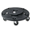 Rubbermaid® Commercial Brute Round Twist On/Off Dolly, 250lb Capacity, 18dia x 6 5/8h, Black RCP264000BK