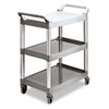 <strong>Rubbermaid® Commercial</strong><br />Economy Plastic Cart, Three-Shelf, 18.63w x 33.63d x 37.75h, Platinum