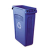 Rubbermaid® Commercial Slim Jim Recycling Container w/Venting Channels, Plastic, 23gal, Blue RCP354007BE