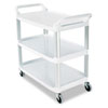 <strong>Rubbermaid® Commercial</strong><br />Open Sided Utility Cart, Three-Shelf, 40.63w x 20d x 37.81h, Off-White
