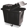 Rubbermaid® Commercial Metal Frame Cube Truck, Rectangular, Polyethylene, 400lb Cap, 12 cu. ft., Black - FG461200BLA