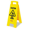 """Rubbermaid® Commercial """"Caution Wet Floor"""" Floor Sign, Plastic, 11 x 1 1/2 x 26, Bright Yellow RCP611277YW"""