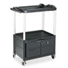 Rubbermaid® Commercial MediaMaster Three-Shelf AV Cart with Cabinet, 18-5/8w x 32-1/2d x 42-3/8h, Bl RCP9T32
