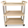 Three-Shelf Service Cart w/Brushed Aluminum Upright, 16-1/4 x 31-1/2 x 36, Beige