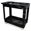Service/Utility Cart, Two-Shelf, 34.13w x 17.38d x 32.38h, Black