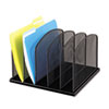 "<strong>Safco®</strong><br />Onyx Mesh Desk Organizer with Upright Sections, 5 Sections, Letter to Legal Size Files, 12.5"" x 11.25"" x 8.25"", Black"