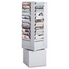 Safco® Steel Rotary Magazine Rack, 44 Compartments, 14w x 14d x 48h, Gray SAF4324GR