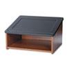 Safco® Tabletop Lectern, 24w x 20d x 13-1/2h, Medium Oak/Black SAF8916MO