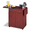 Hospitality Service Cart, One-Shelf, 32.5w x 20.5d x 38.75h, Mahogany