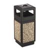 Safco® Canmeleon Ash/Trash Receptacle, Square, Aggregate/Polyethylene, 15gal, Black SAF9470NC