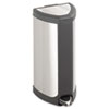 Safco® Step-On Waste Receptacle, Triangular, Stainless Steel, 4gal, Chrome/Black SAF9685SS